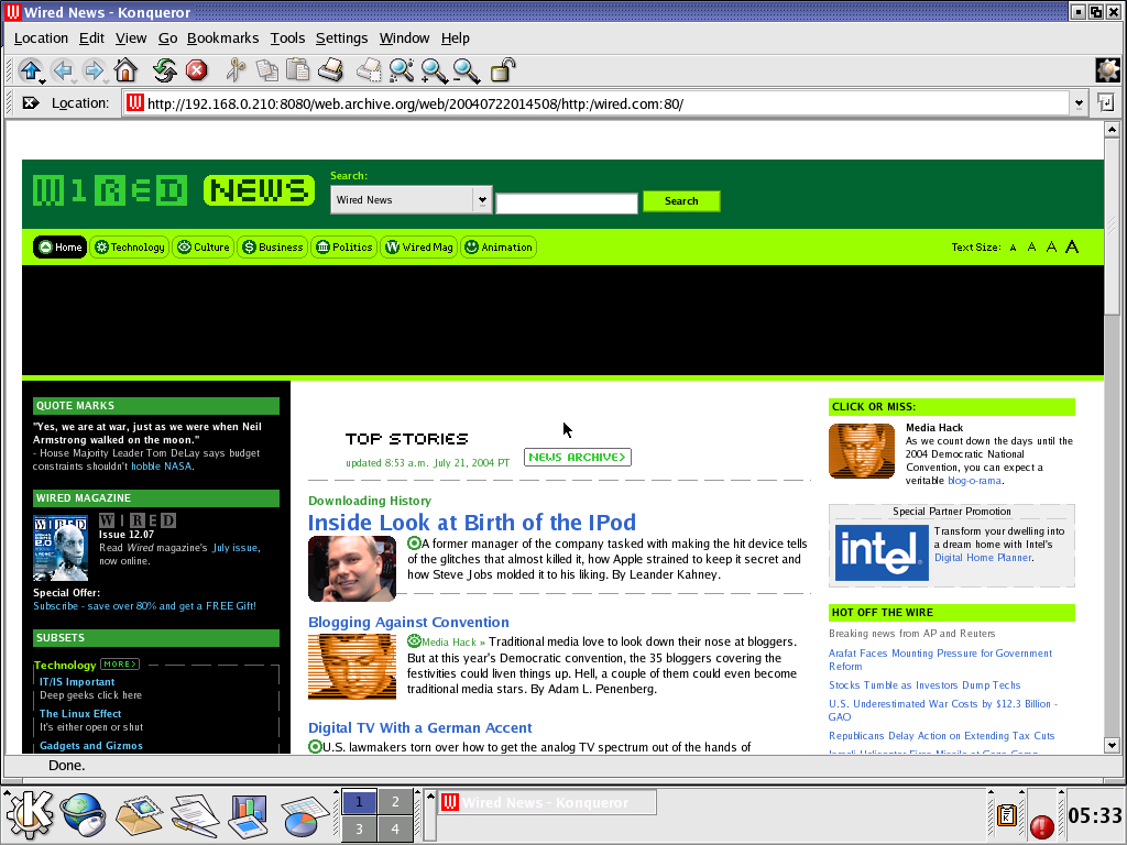 Red Hat 8.0 with Konqueror 3.0 displaying a page from Wired archived at July 22, 2004 at 01:45:08