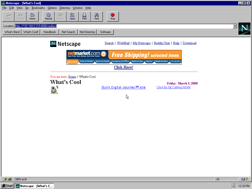Windows 95 RTM x86 with Netscape Navigator 2.0 displaying a page from Netscape archived at August 16, 2000 at 09:24:04