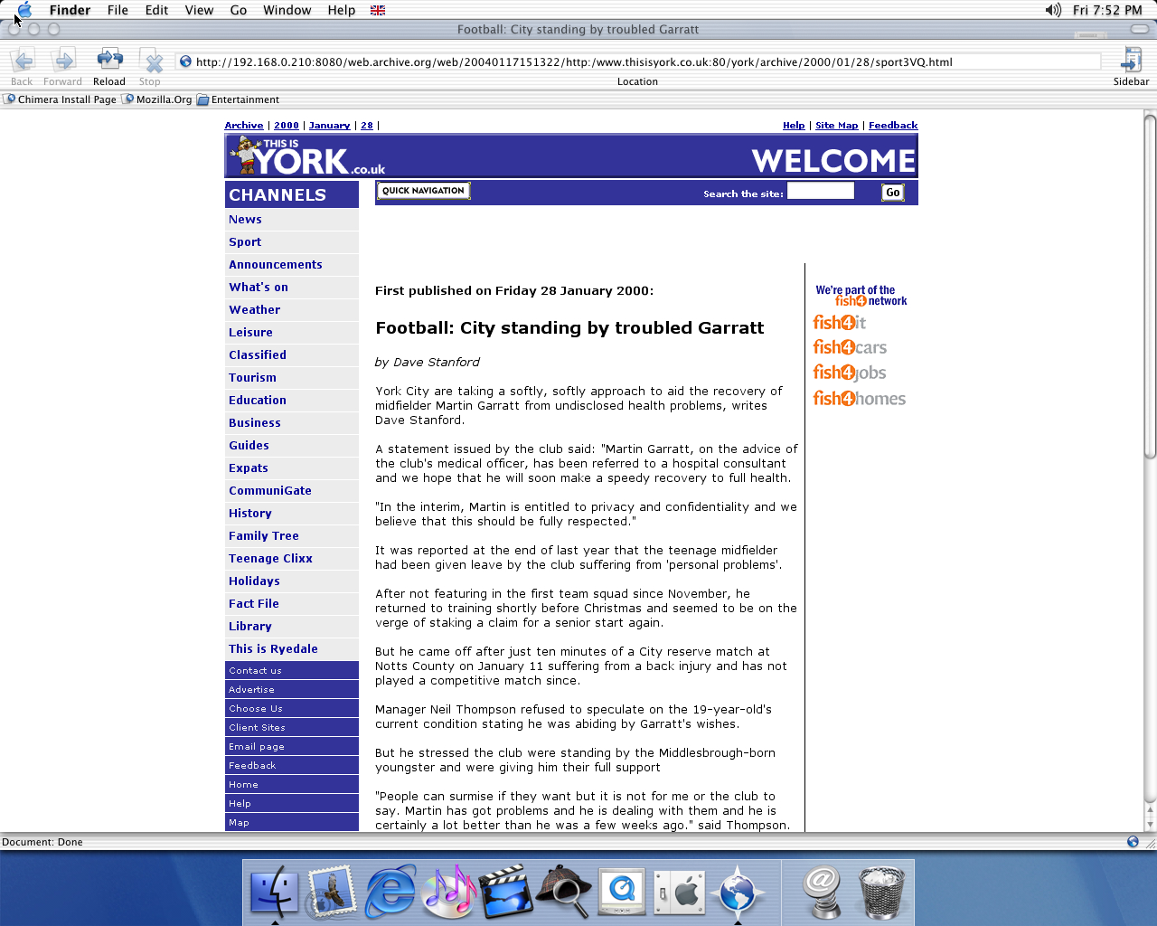OS X 10.1 PPC with Chimera 0.6 displaying a page from York Press archived at January 17, 2004 at 15:13:22