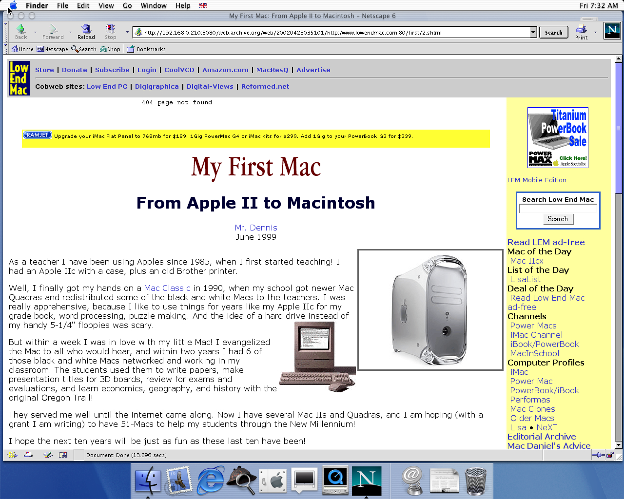 OS X 10.0 PPC with Netscape 6.1 displaying a page from Low End Mac archived at April 23, 2002 at 03:51:01