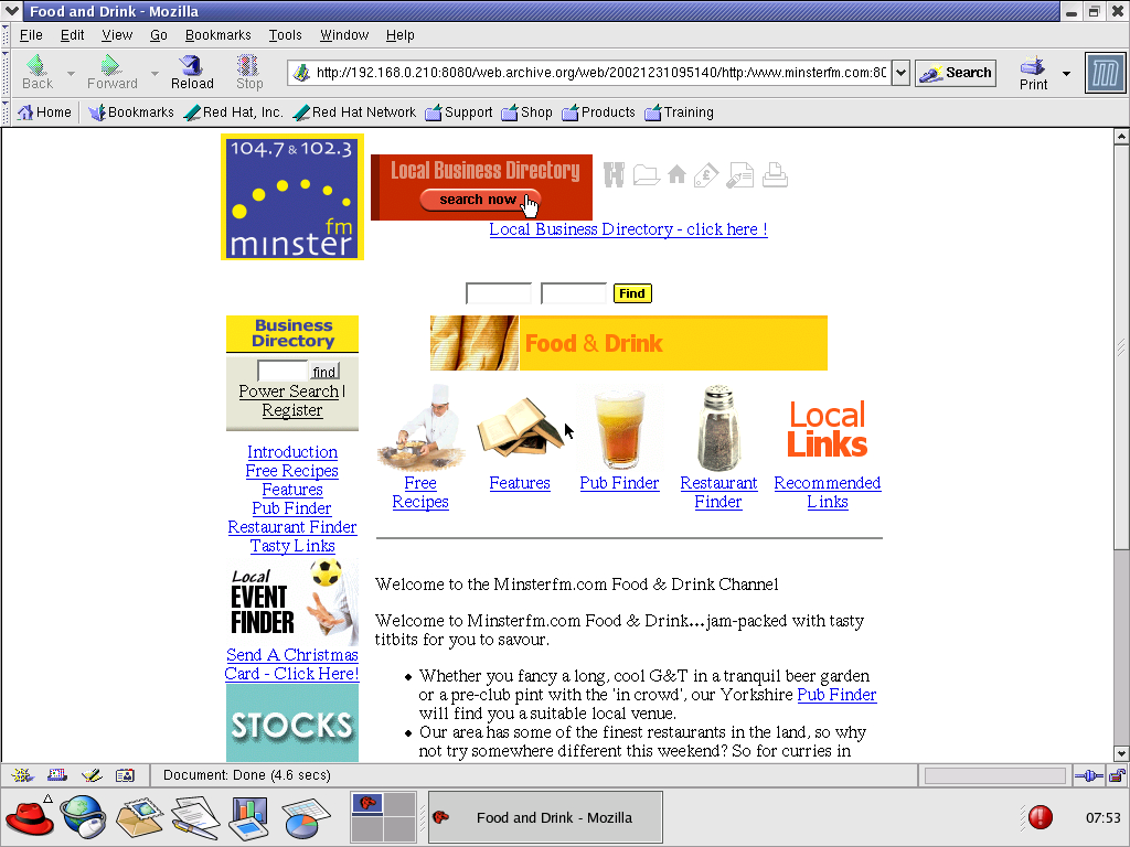 Red Hat 8.0 with Mozilla Suite 1.0 displaying a page from Minster FM archived at December 31, 2002 at 09:51:40