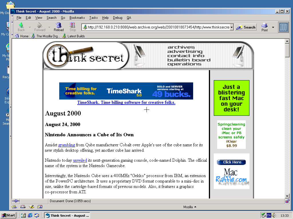 Windows 2000 Pro x86 with Mozilla Suite 0.6 displaying a page from Think Secret archived at August 18, 2001 at 07:34:54