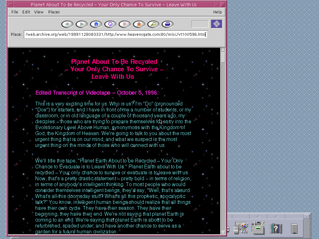 Solaris 2.6 SPARC with HotJava 1.0 displaying a page from Heaven's Gate archived at November 28, 1999 at 08:33:31