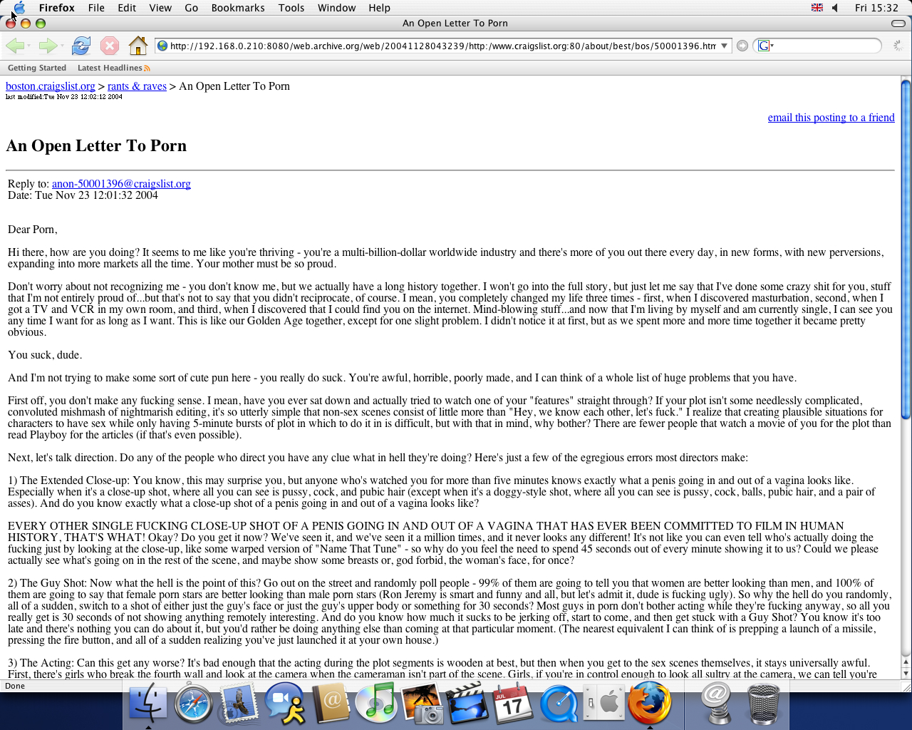 OS X 10.3 PPC with Mozilla Firefox 1.0 displaying a page from craigslist archived at November 28, 2004 at 04:32:39