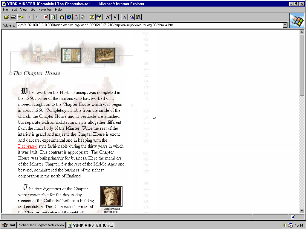 Windows 95 RTM x86 with Internet Explorer 2.0 displaying a page from York Minster archived at February 18, 1999 at 17:12:18
