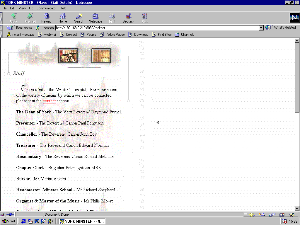 Windows 98 RTM x86 with Netscape Navigator 4.5 displaying a page from York Minster archived at February 20, 1999 at 18:55:44