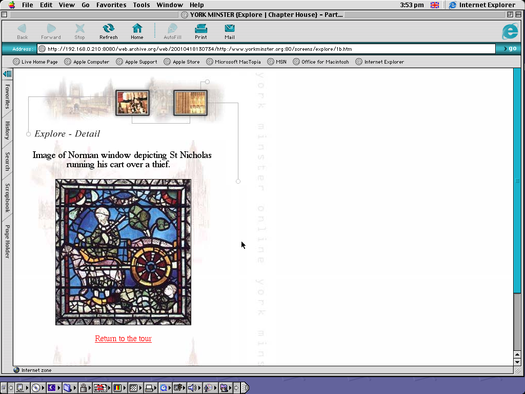 Mac OS 9.0.4 PPC with Internet Explorer 5.0 displaying a page from York Minster archived at April 18, 2001 at 13:07:34
