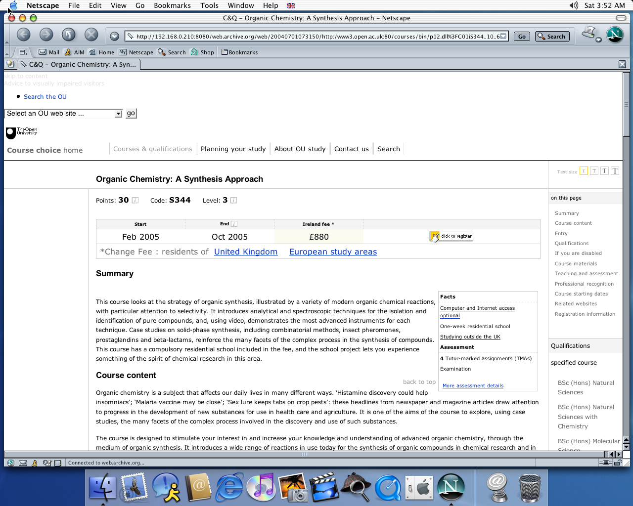 OS X 10.2 PPC with Netscape 7.0 displaying a page from Open University archived at July 01, 2004 at 07:31:50