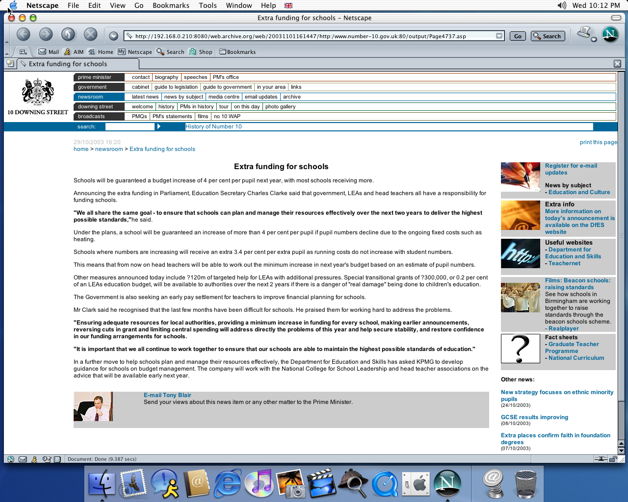 OS X 10.2 PPC with Netscape 7.0 displaying a page from Office of the Prime Minister archived at November 01, 2003 at 16:14:47