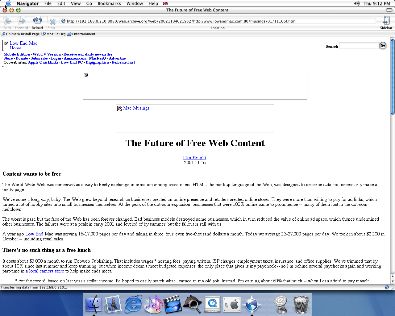 OS X 10.1 PPC with Chimera 0.6 displaying a page from Low End Mac archived at November 04, 2002 at 02:19:52