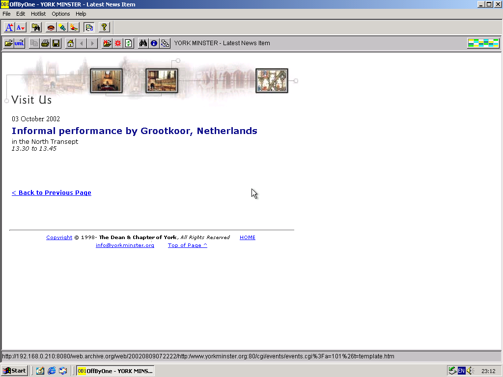 Windows 2000 Pro x86 with OffByOne Web Browser 3.2 displaying a page from York Minster archived at August 09, 2002 at 07:22:22