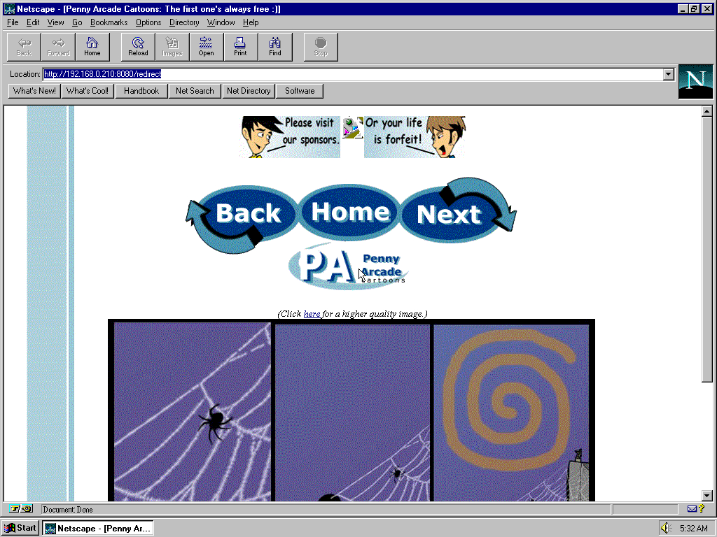 Windows 95 RTM x86 with Netscape Navigator 2.0 displaying a page from Penny Arcade archived at August 18, 2000 at 04:54:55
