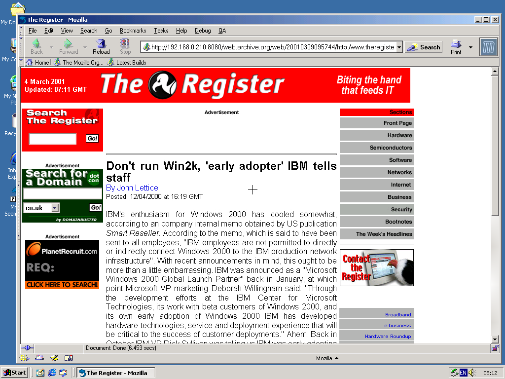 Windows 2000 Pro x86 with Mozilla Suite 0.6 displaying a page from TheRegister.co.uk archived at March 09, 2001 at 09:57:44