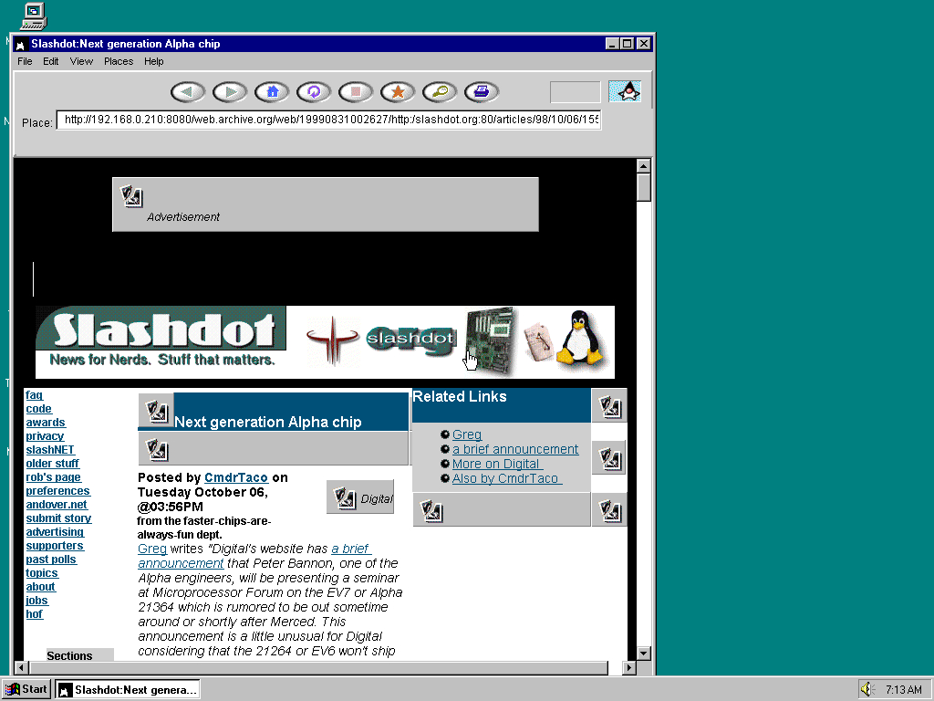 Windows 95 OSR2 x86 with HotJava 1.0 displaying a page from Slashdot archived at August 31, 1999 at 00:26:27