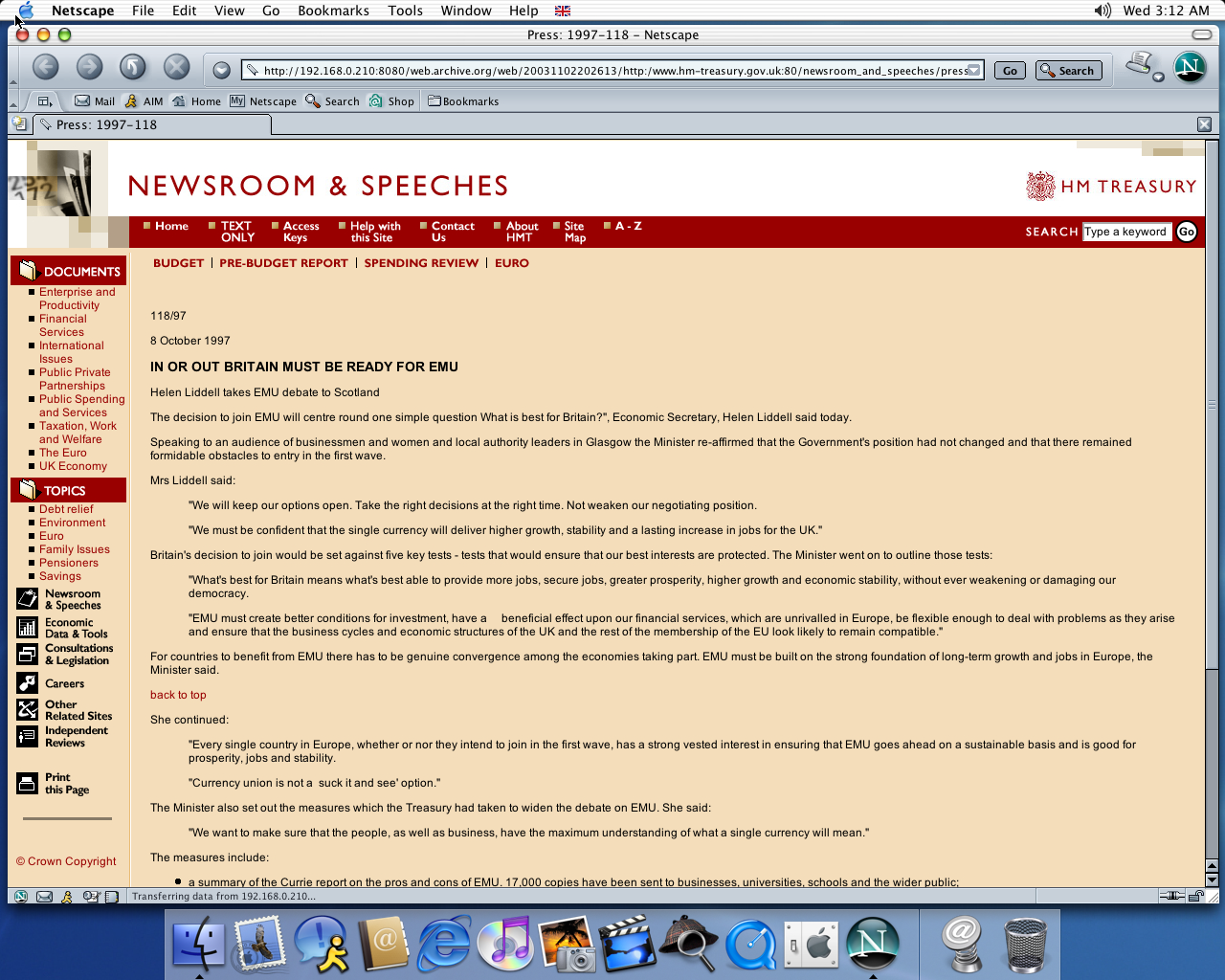 OS X 10.2 PPC with Netscape 7.0 displaying a page from Her Majesty's Treasury archived at November 02, 2003 at 20:26:13