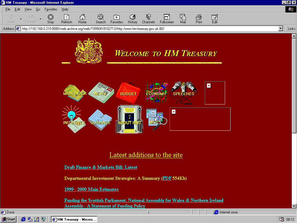 Windows 98 RTM x86 with Internet Explorer 4.0 displaying a page from Her Majesty's Treasury archived at April 18, 1999 at 10:27:13