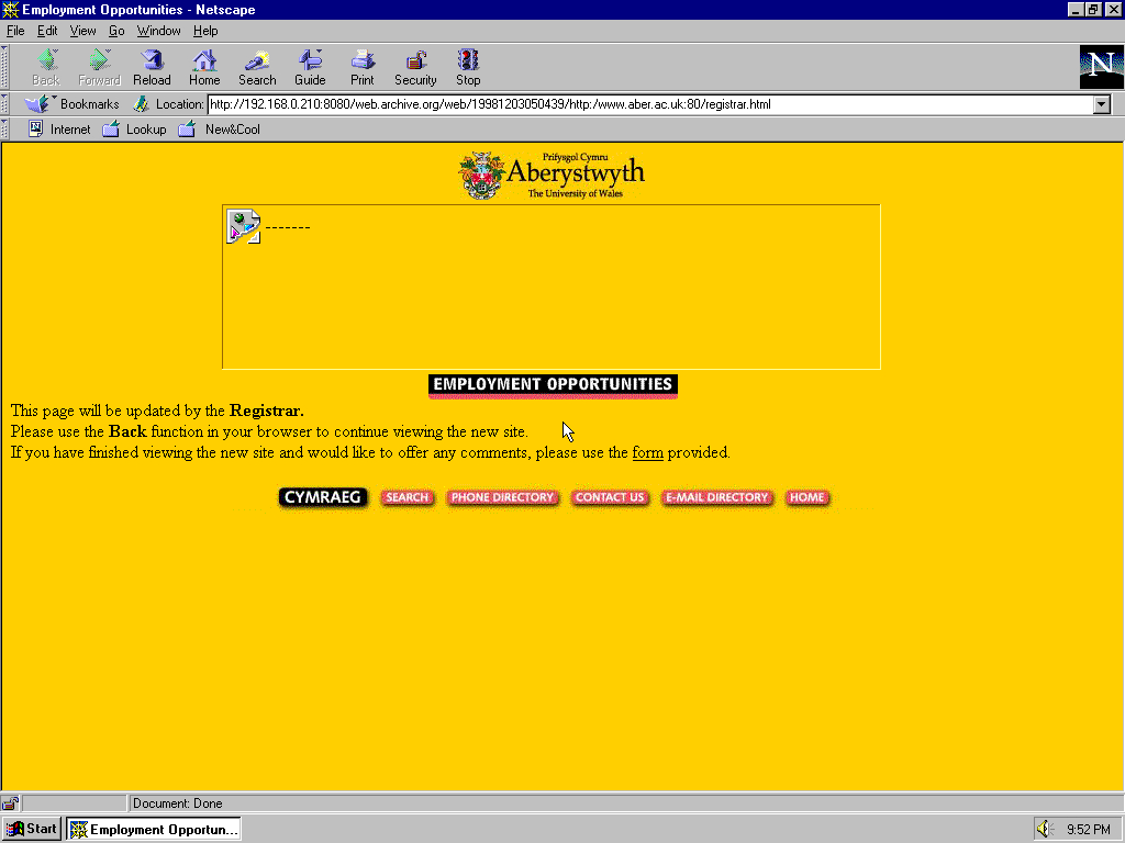 Windows 95 OSR2 x86 with Netscape Navigator 4.0 displaying a page from University of Aberystwyth archived at December 03, 1998 at 05:04:39