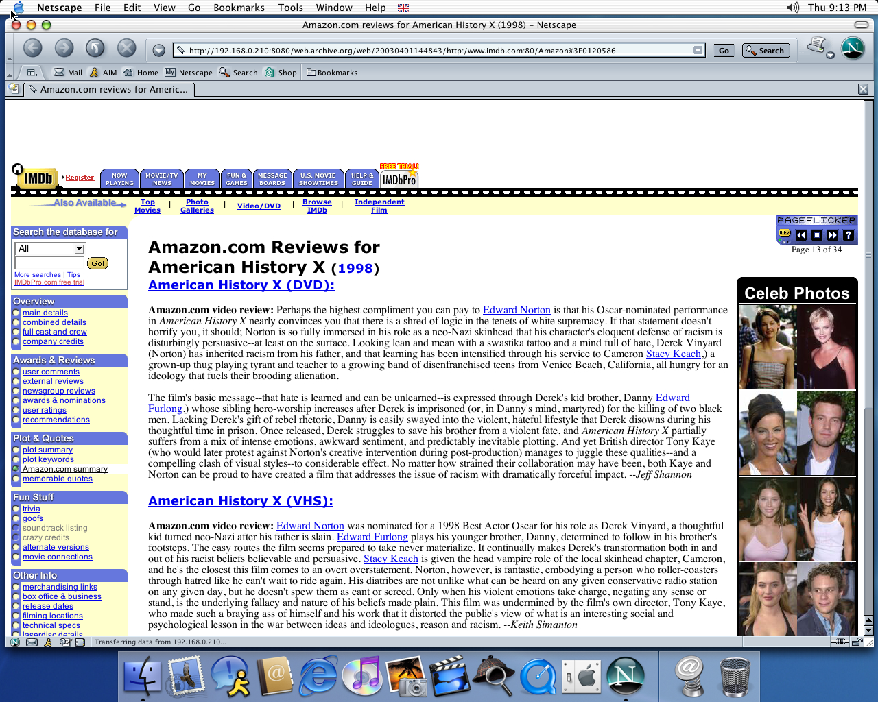 OS X 10.2 PPC with Netscape 7.0 displaying a page from IMDB archived at April 01, 2003 at 14:48:43