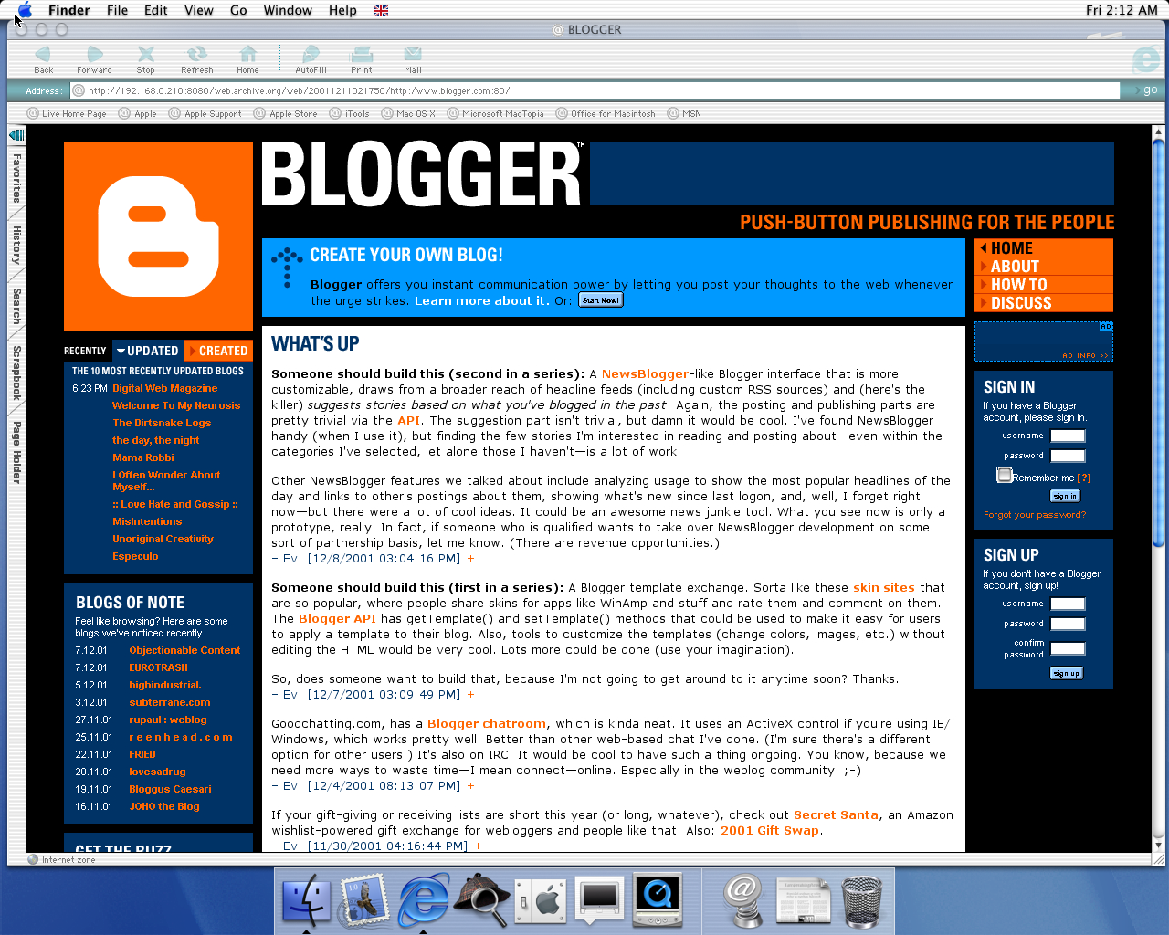 OS X 10.0 PPC with Microsoft Internet Explorer 5.1 for Mac Preview displaying a page from Blogger archived at December 11, 2001 at 02:17:50
