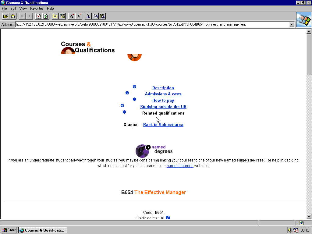 Windows 95 RTM x86 with Internet Explorer 1.0 displaying a page from Open University archived at May 21, 2000 at 03:43:17
