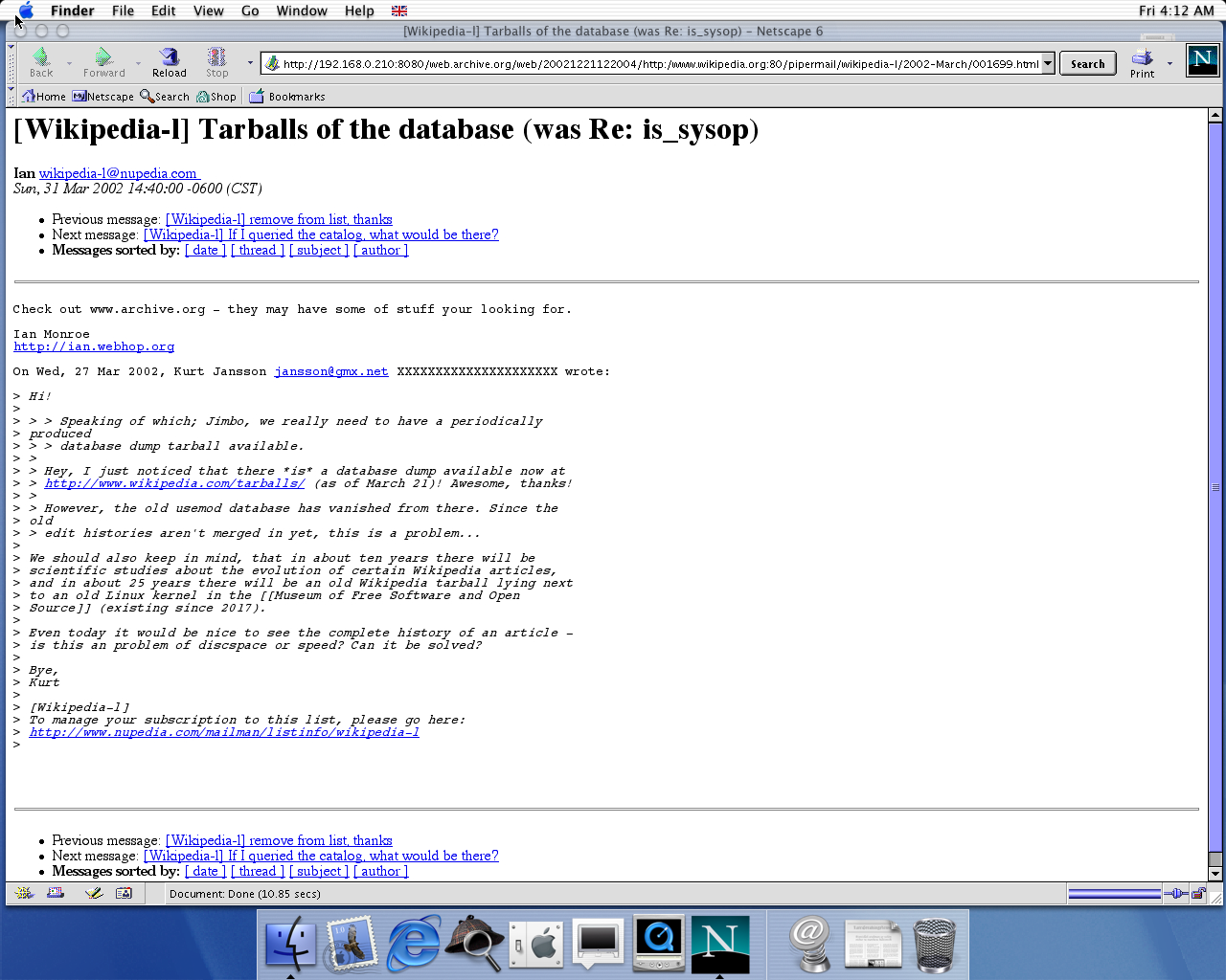 OS X 10.0 PPC with Netscape 6.1 displaying a page from Wikipedia.org archived at December 21, 2002 at 12:20:04