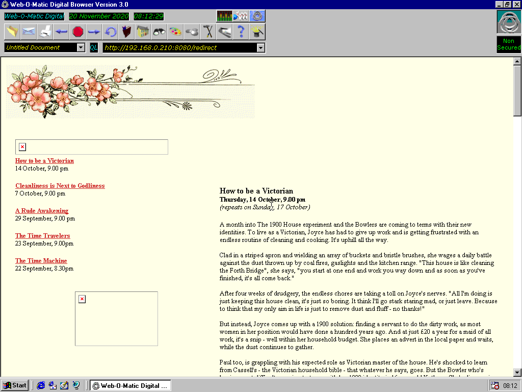 Windows 98 RTM x86 with Web-O-Matic Digital Browser 3.0 displaying a page from Channel 4 archived at October 13, 1999 at 02:20:31