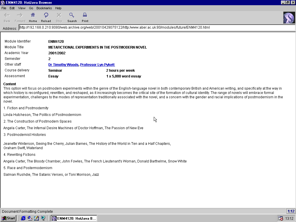 Windows 98 RTM x86 with HotJava 3.0 displaying a page from University of Aberystwyth archived at April 29, 2001 at 07:51:22