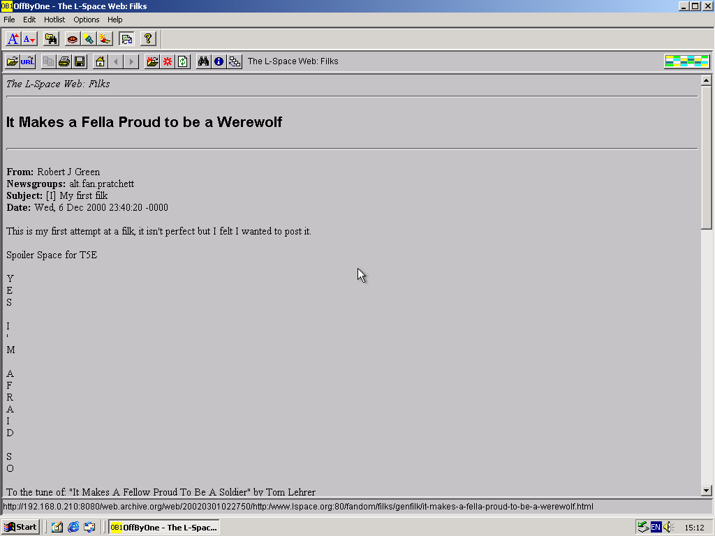 Windows 2000 Pro x86 with OffByOne Web Browser 3.2 displaying a page from Lspace.org archived at March 01, 2002 at 02:27:50