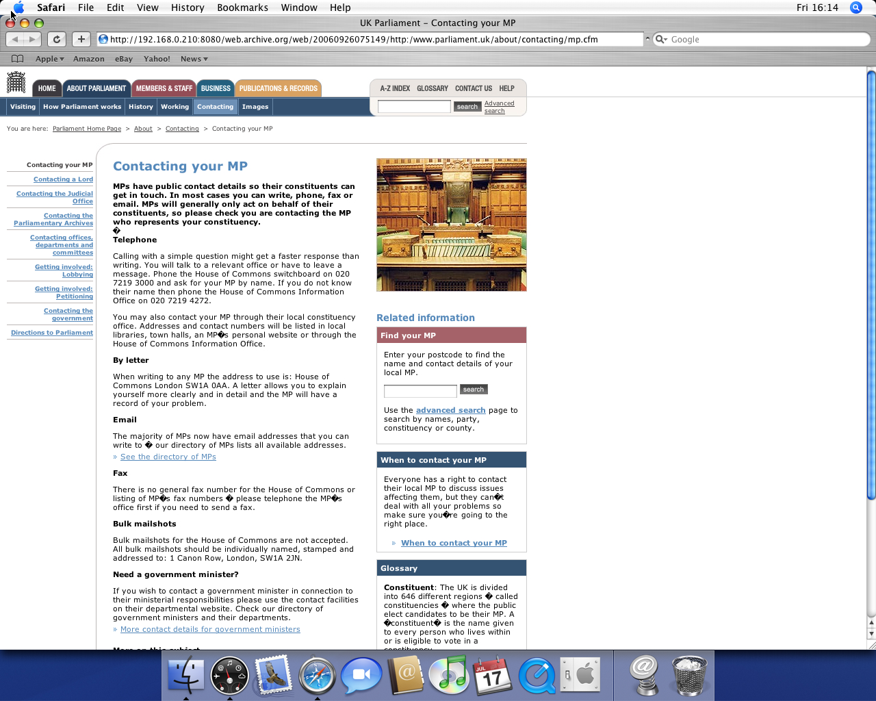 OS X 10.4 PPC with Safari 2.0 displaying a page from UK Parliament archived at September 26, 2006 at 07:51:49