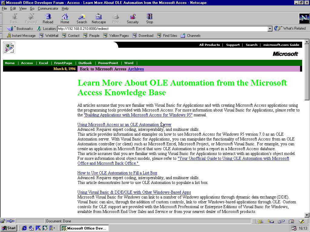 Windows 98 RTM x86 with Netscape Navigator 4.5 displaying a page from Microsoft.com archived at March 11, 2000 at 21:34:03