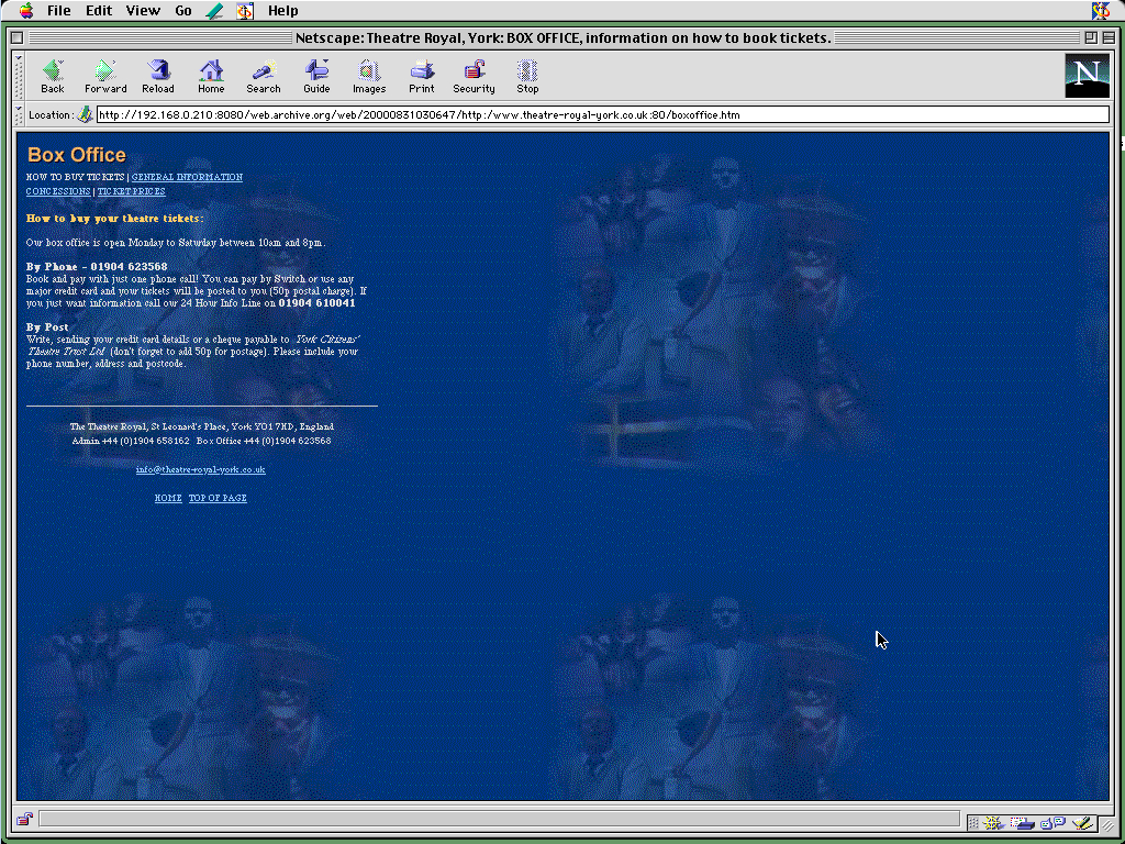 Mac OS 8.0 m68k Netscape Communicator Pro 4.03 displaying a page from York Theatre Royal archived at August 31, 2000 at 03:06:47