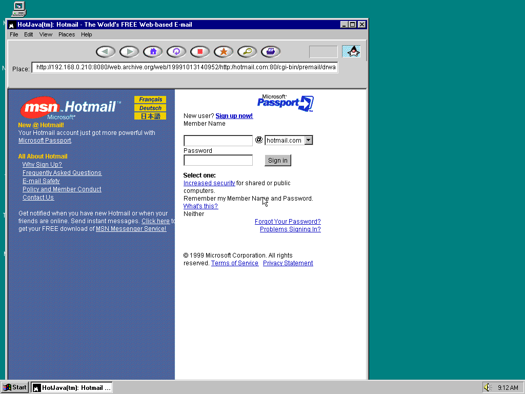 Windows 95 OSR2 x86 with HotJava 1.0 displaying a page from Hotmail.com archived at October 13, 1999 at 14:09:52