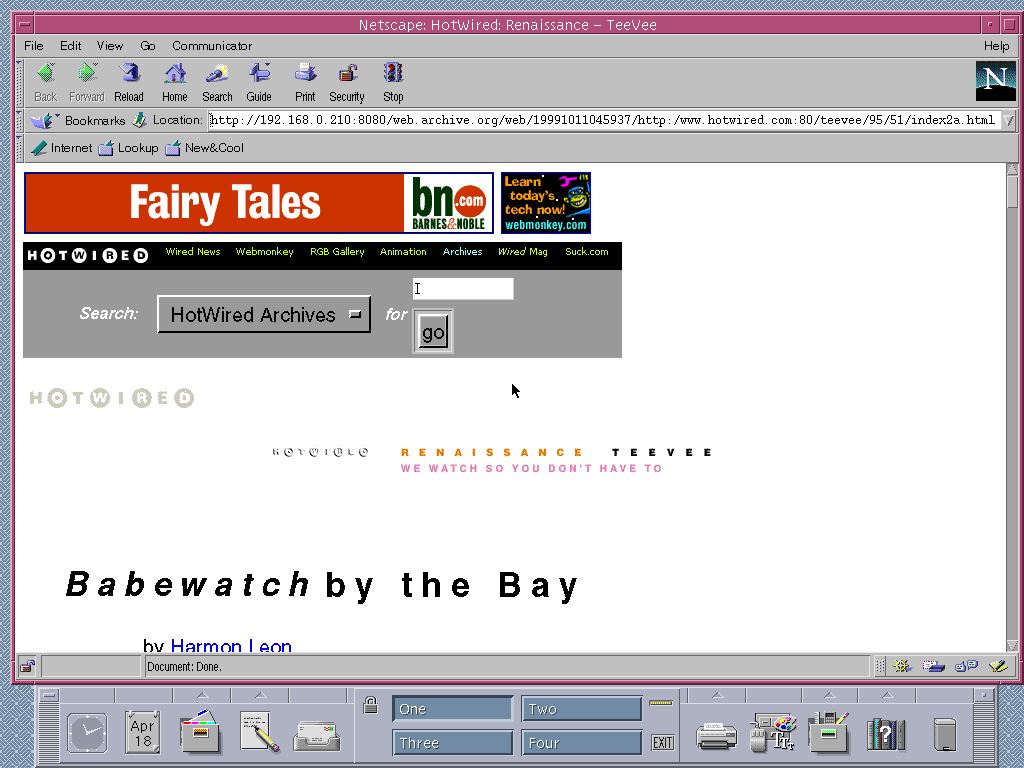 Solaris 2.6 SPARC with Netscape Communicator 4.03 displaying a page from HotWired archived at October 11, 1999 at 04:59:37